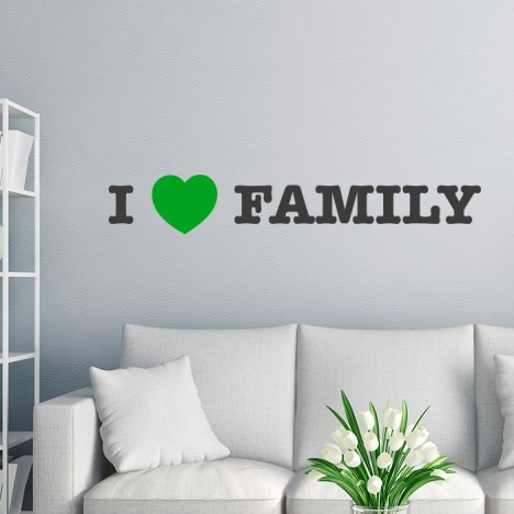 I LOVE FAMILY Wandtattoo