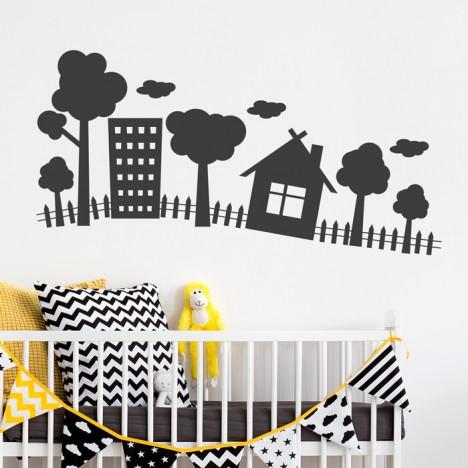 wandtattoo kleine landschaft. Black Bedroom Furniture Sets. Home Design Ideas