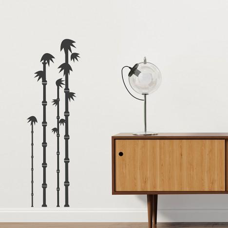 Grafischer Bambus Wandtattoo