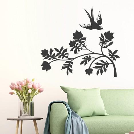 Blume mit Vogel Wandtattoo