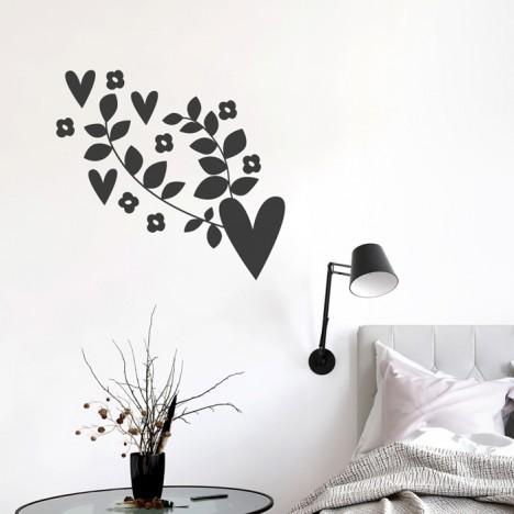 Blumenranke mit Herzchen Wandtattoo