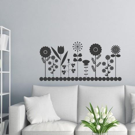 Punkte Blumenreihe Wandtattoo