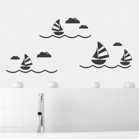 Segelboot Set Wandtattoo