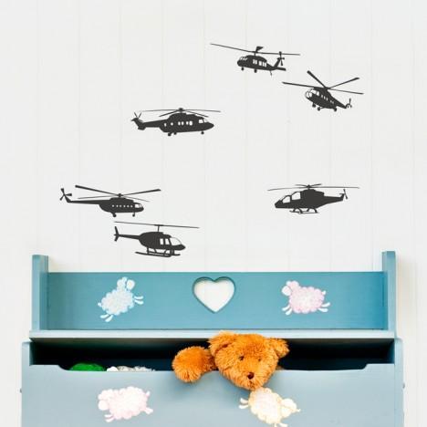 Hubschrauber Set Wandtattoo