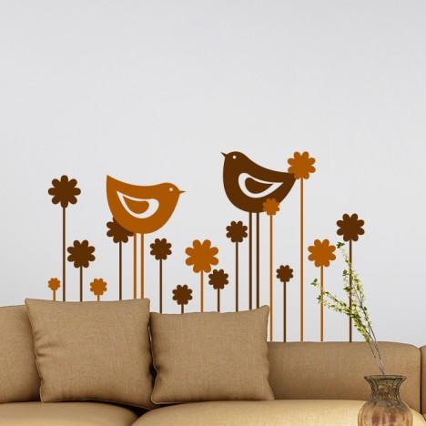 Blumenreihe mit 2 Vögeln Wandtattoo