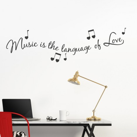 Wandtattoo Spruch - Music is the language of love