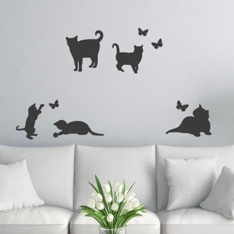 Katzen Schmetterlings Wandtattoo