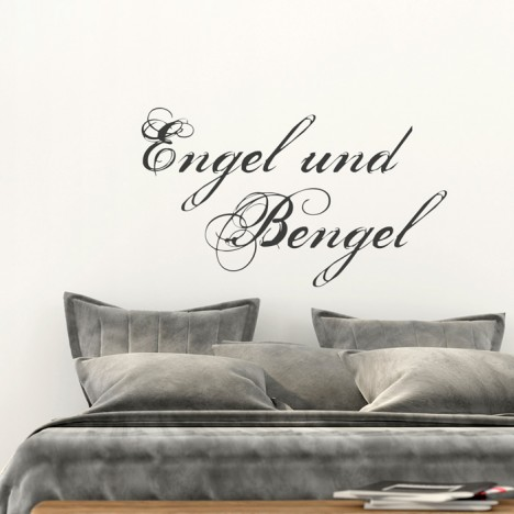 wandtattoo spruch engel und bengel. Black Bedroom Furniture Sets. Home Design Ideas