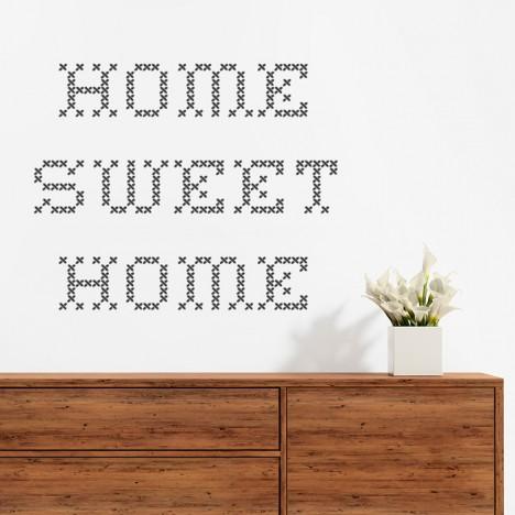 Wandtattoo Spruch - home sweet home gestickt