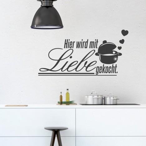 Wandtattoo Spruch - Hier wird mit Liebe gekocht