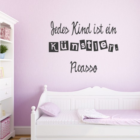 wandtattoo zitat jedes kind ist ein k nstler. Black Bedroom Furniture Sets. Home Design Ideas