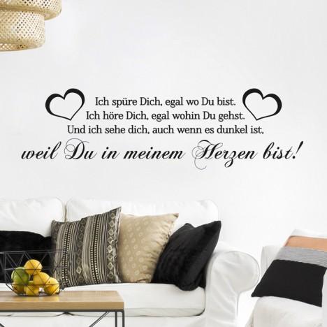 Wandtattoo Spruch - Ich spüre Dich egal wo Du bist ...