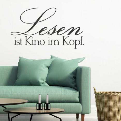 Wandtattoo Spruch - Lesen ist Kino im Kopf