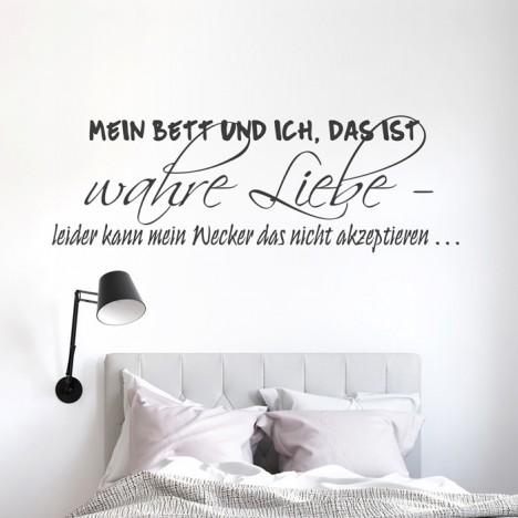 Wandtattoo Spruch - Mein Bett und ich, das ist wahre Liebe ...