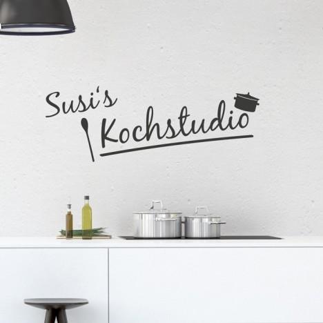 Wandtattoo Kochstudio Wunschname