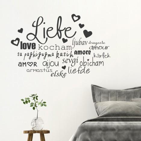 Wandtattoo Spruch - Liebe in vielen Sprachen