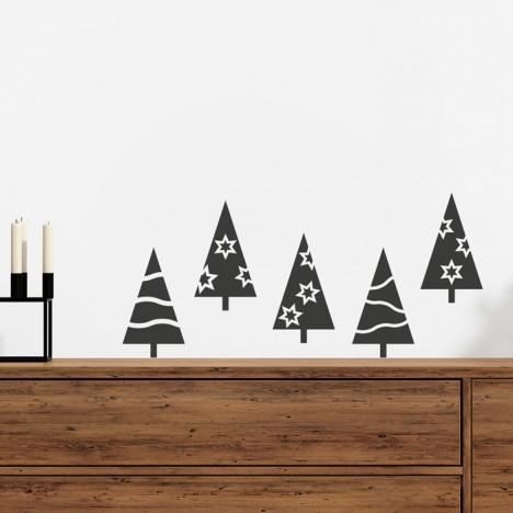 Wandtattoo Set - Weihnachtsbäume