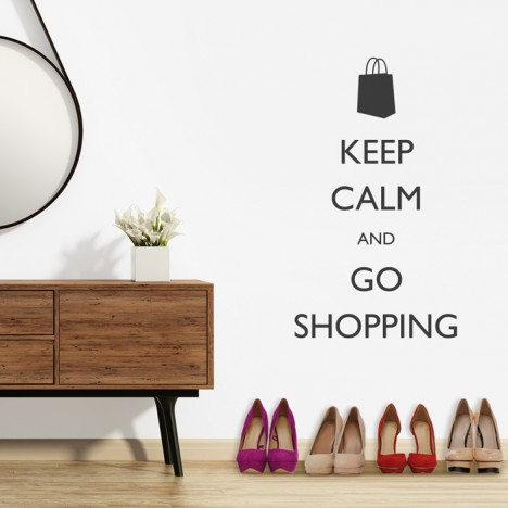 Wandtattoo Spruch - Keep calm and go shopping