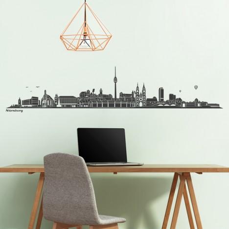 Wandtattoo Skyline Nürnberg ohne Fluss