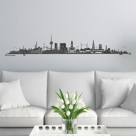 Wandtattoo Skyline Karlsruhe ohne Fluss