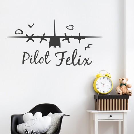 Flugzeug Wunschname Wandtattoo