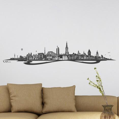 Wandtattoo Skyline Ulm mit Fluss