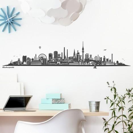 Wandtattoo Skyline Ruhrpott ohne Fluss
