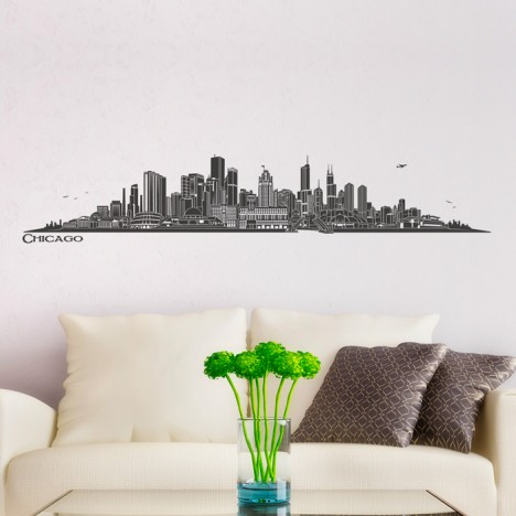 wandtattoo skyline chicago. Black Bedroom Furniture Sets. Home Design Ideas