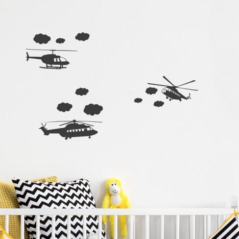 Wandtattoo A4-Set Hubschrauber mit Wölkchen