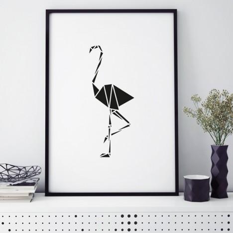 flamingo origami poster