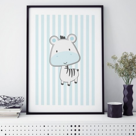 zebra blau poster kinderzimmer