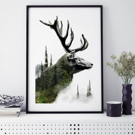 forest deer poster hirschkopf wald