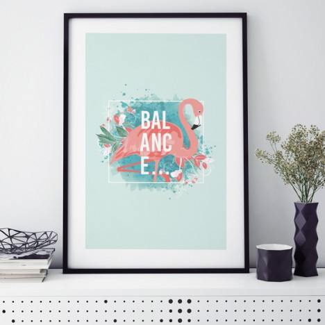 Poster Flamingo Balance