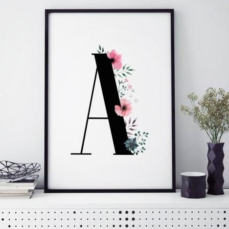 Poster Florales A, mit Rahmen