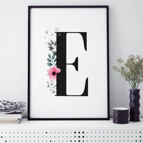 Poster Florales E, mit Rahmen