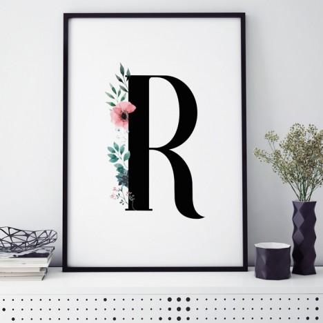 Poster Florales R, mit Rahmen