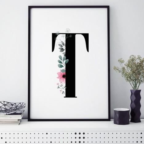 Poster Florales T, mit Rahmen