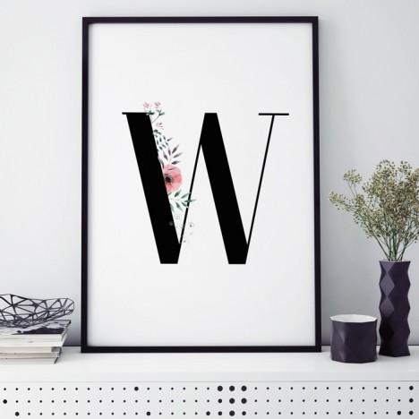 Poster Florales W, mit Rahmen