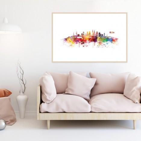 Poster Skyline Köln Aquarell, mit Rahmen
