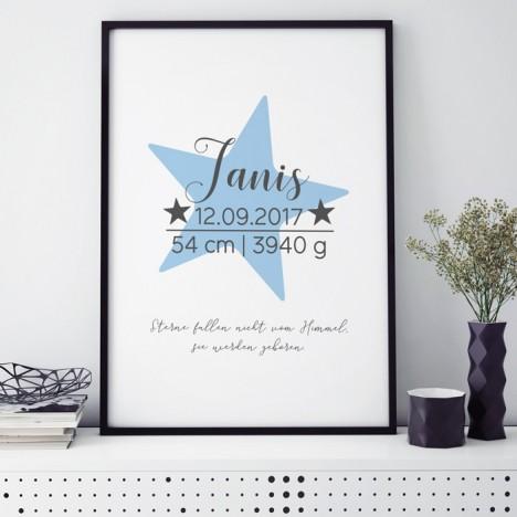 Poster Sterne fallen nicht vom Himmel, sie werden geboren. | blau | individualisierbar