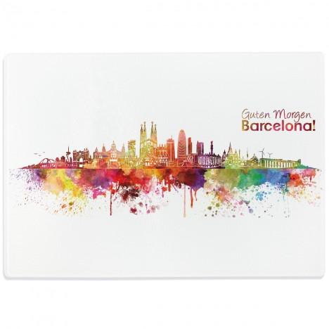 Glasschneidebrett Aquarell Skyline Barcelona