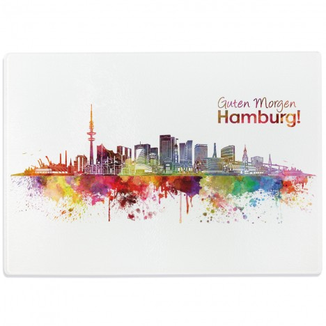 glasschneidebrett aquarell skyline hamburg. Black Bedroom Furniture Sets. Home Design Ideas