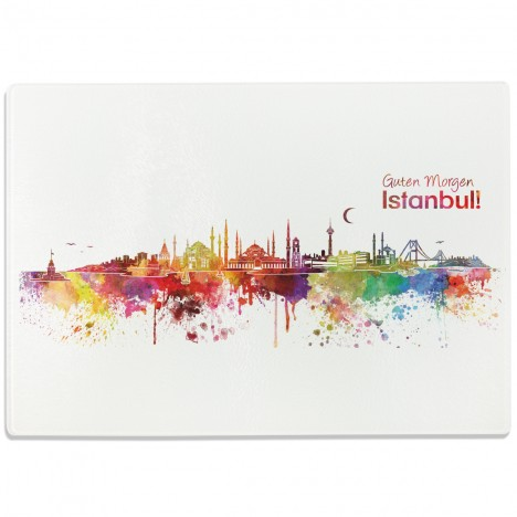 Glasschneidebrett Aquarell Skyline Istanbul