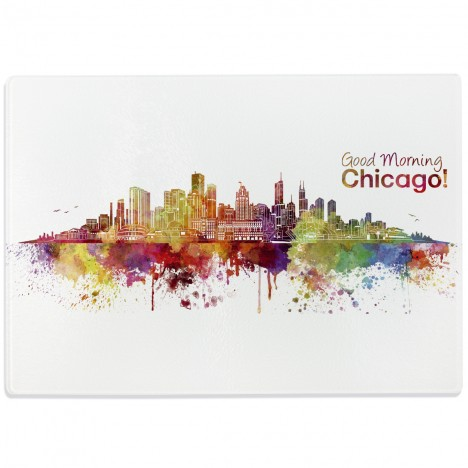 Glasschneidebrett Aquarell Skyline Chicago