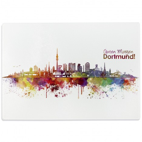 Glasschneidebrett Skyline Dortmund