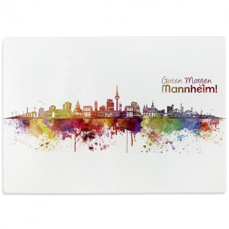 Glasschneidebrett Skyline Mannheim