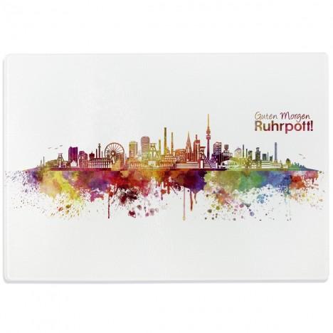 Glasschneidebrett Skyline Ruhrpott