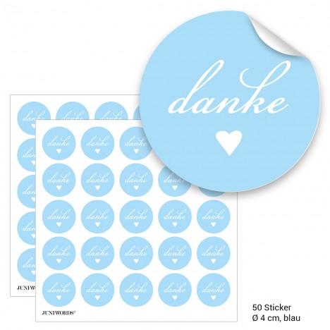 """Geschenktüten mit Aufklebern """"Danke"""" - blau"""