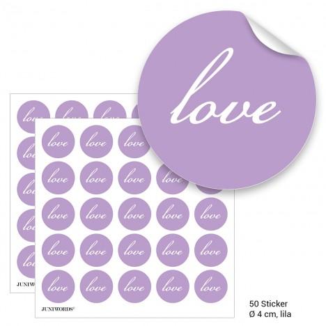"""Geschenktüten mit Aufklebern """"Love"""" - lila"""