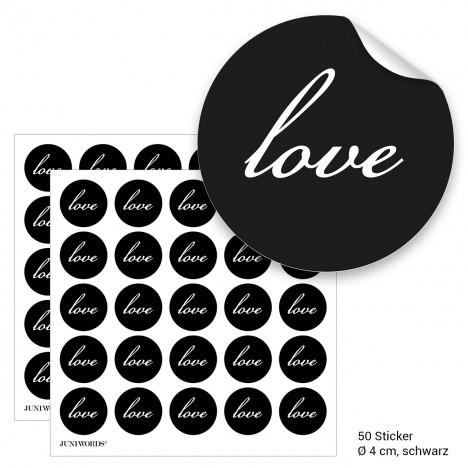 """Geschenktüten mit Aufklebern """"Love"""" - schwarz"""